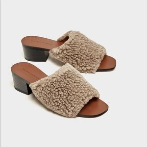Zara Furry Mules Sandals